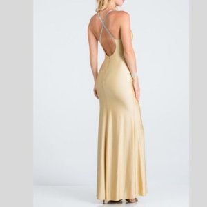 La Scala Dresses - Rhinestone Strap Mermaid Gown in Toffee